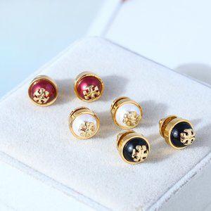 Tory Burch Pearl Tricolor Simple Stud Earrings